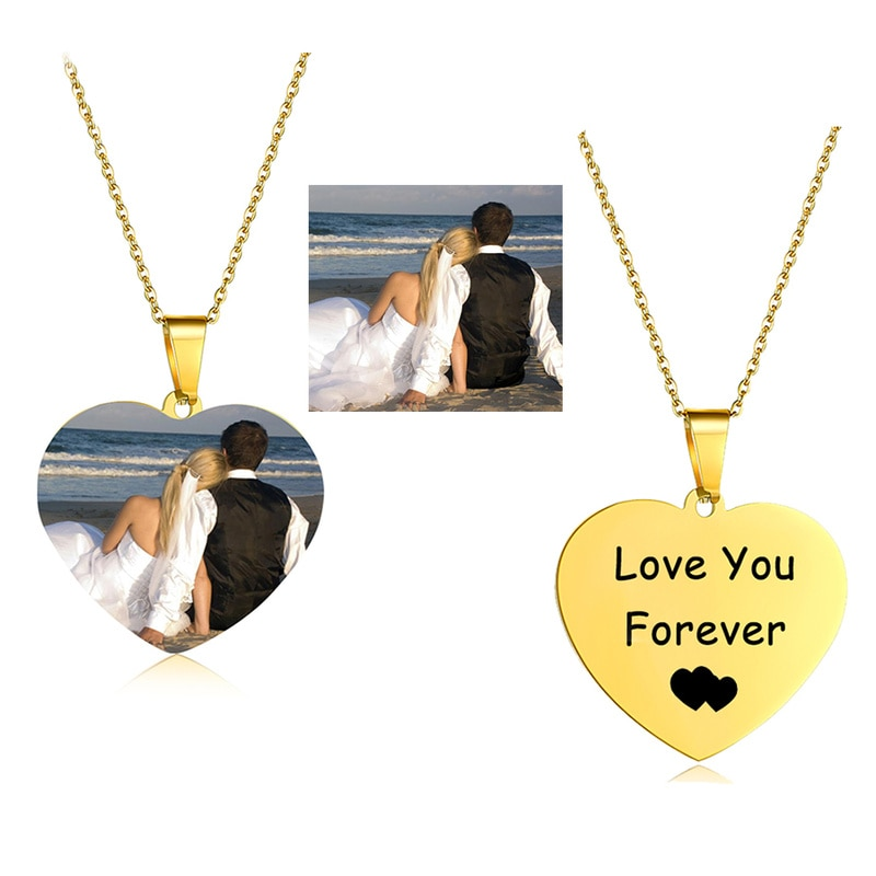 Personalized Name Custom Necklace Gold Color Choker Women Men Heart Customized Photo Nameplate Chain Necklace Gift Jewelry hip hop jewelry cuban chain customized nameplate necklaces for women men punk gold tone solid personalized custom name necklace