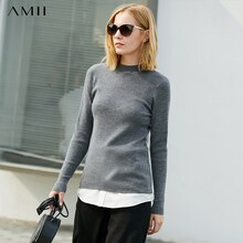 Amii Minimalist Half-high Collar Knit Sweater Winter Women Solid Slim Female Pullover Tops 11747848