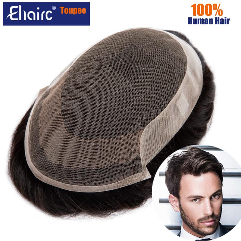 New OCT- Men Toupee Lace & PU Base Toupee Wig For Men 130% Density Man Wigs Male Human Hair Prosthesis for Men 6