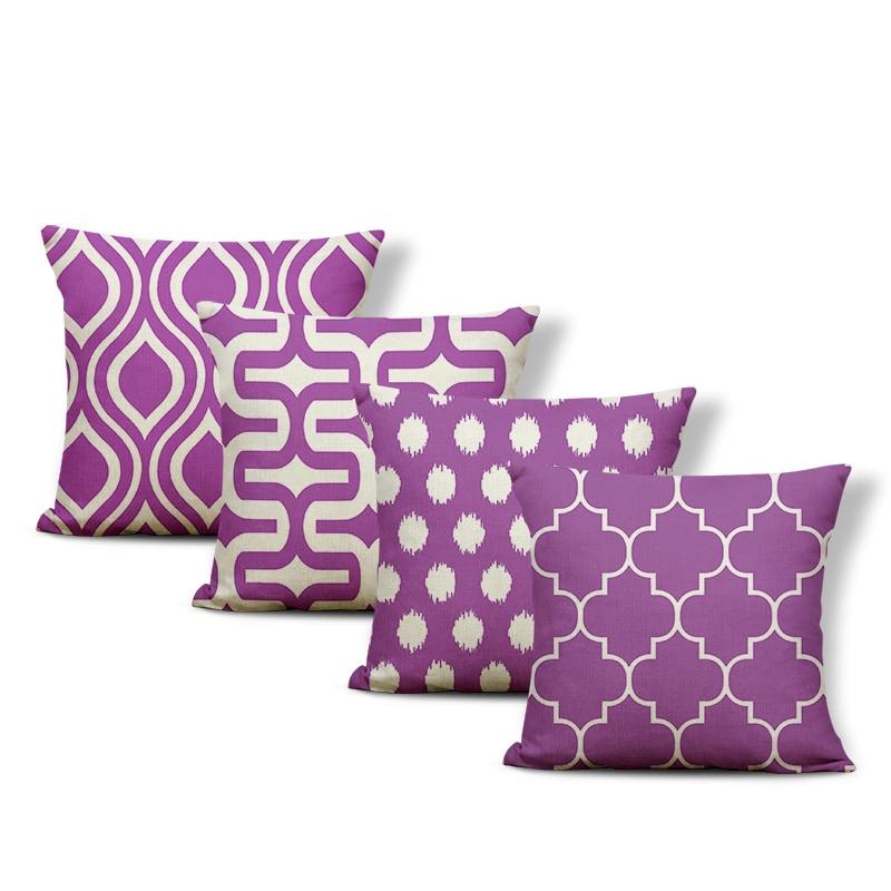 Роскошная наволочка для дома из полиэстера и льна, декоративная наволочка для дивана, фиолетовая мандаловая линия 43*43 см, наволочка с геомет...