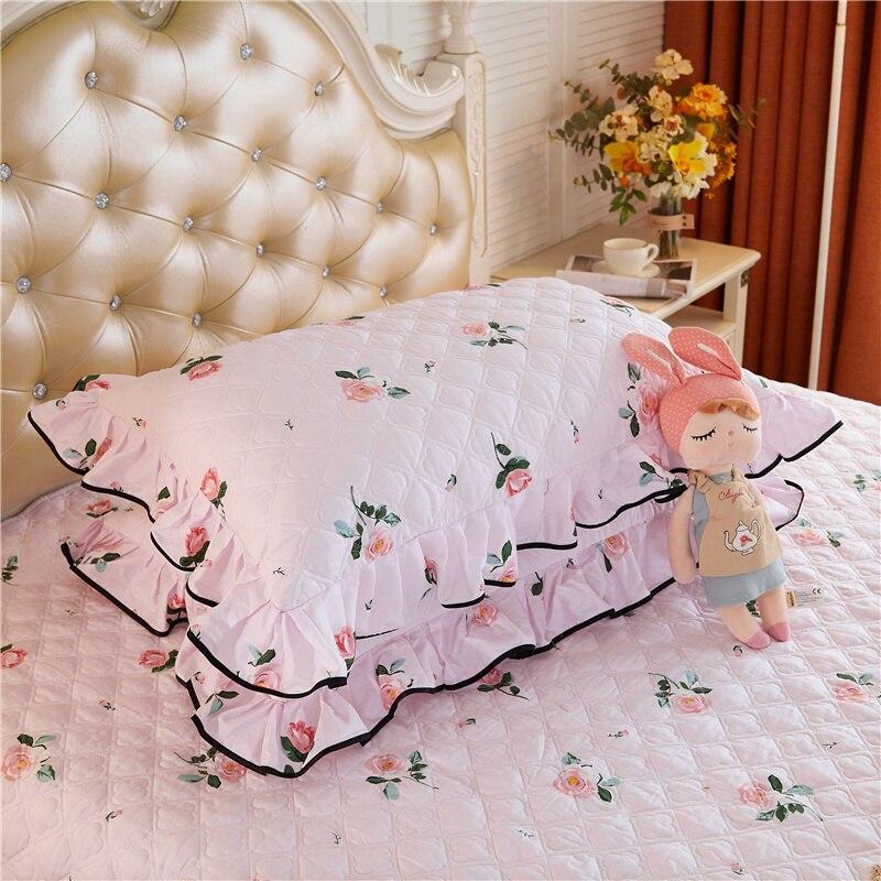 1 زوج الأميرة نمط القطن الخالص المخدة سميكة الأزهار وسادة مطبوعة غطاء للكبار 48*74 سنتيمتر وسادة الزخرفية للسرير