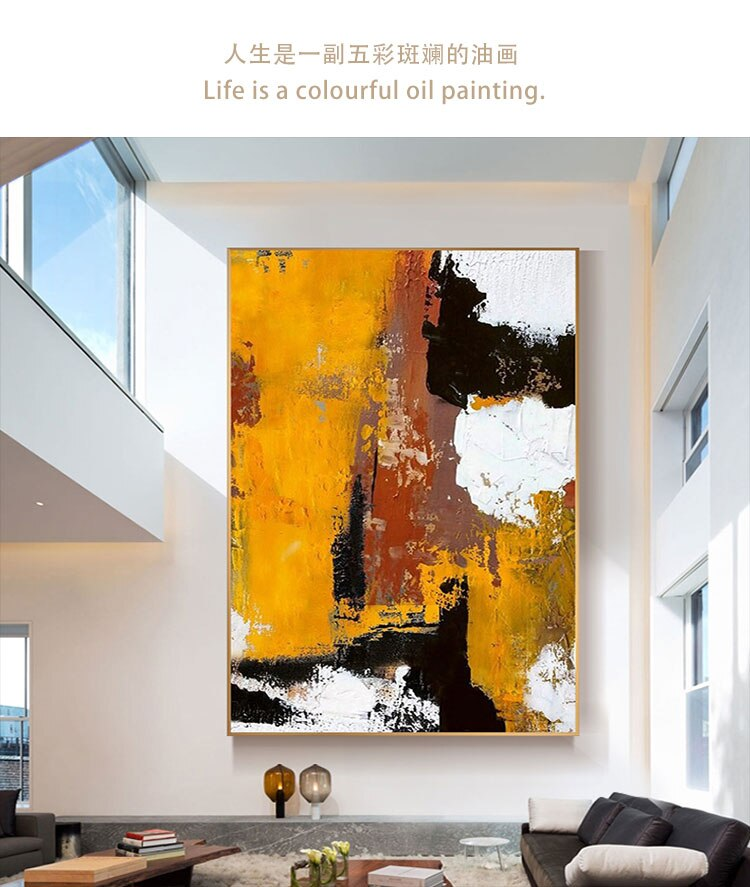 Yellow Canvas Painting High Skilled Living Room  Restaurant Interior Decoration Picture Wall Art Hand Painted Oil Painting