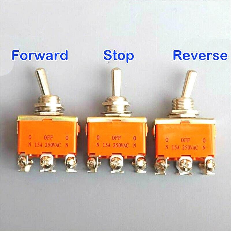 Interruptor DPDT ON-OFF de 15 Amp 250V 6 pines, interruptor de encendido, balancín de tres posiciones, polaridad de lanzamiento hacia adelante, marcha atrás, CW CCW DC, Control de Motor
