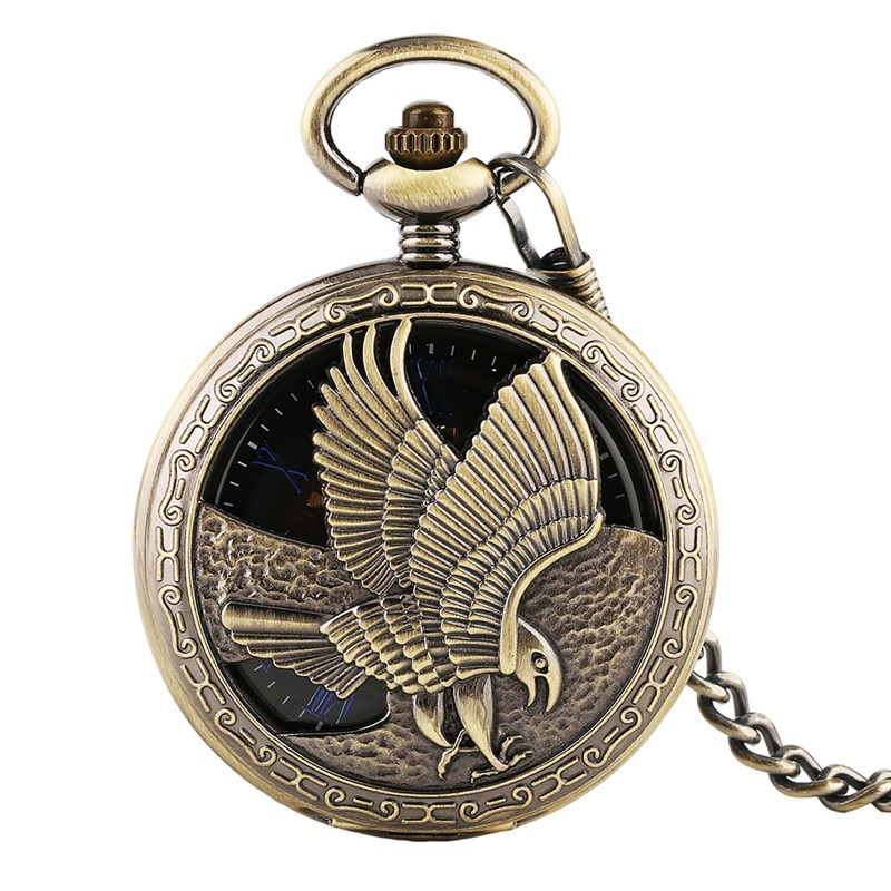 Steampunk Hollow Flying Eagle Handwinding Mechanical Pocket Watch for Unisex Pendant Chain Skeleton Clock Roman Number Dial Gift