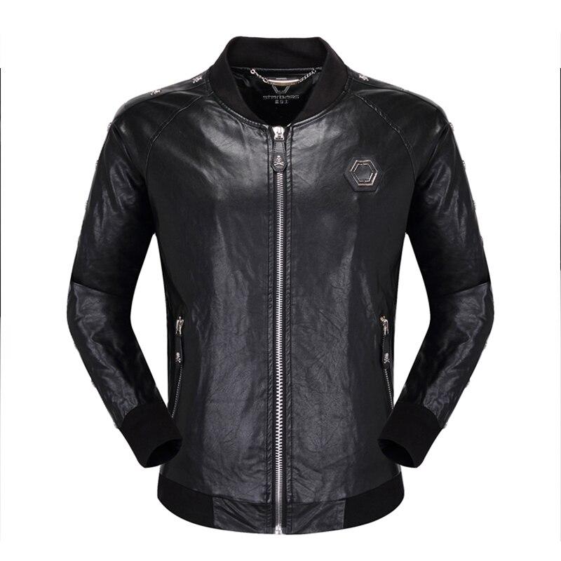 ملابس تقليد pp معطف جمجمة من الجلد الصناعي للرجال ، معطف فيليب برينج للخريف والشتاء ، تقليم دراجة نارية عصري