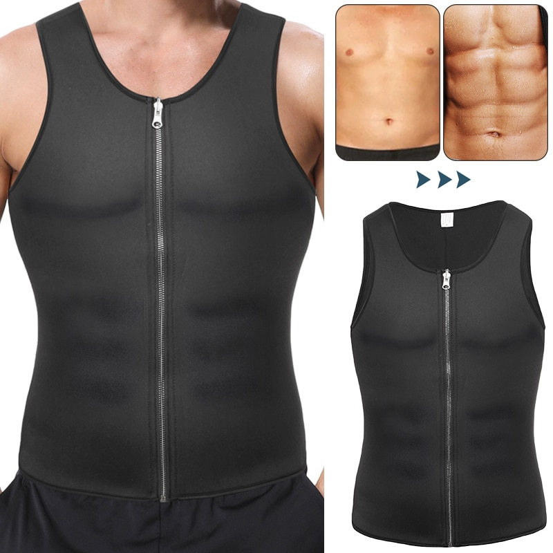 Mens Body Shaper Abdomen Slimming Shapewear Neoprene Belly Shapers Heat Trapping Sweat Vest Waist Trainer Fat Burning Corset Top slimming belt belly men slimming vest body shaper neoprene abdomen fat burning shaperwear waist sweat corset weight