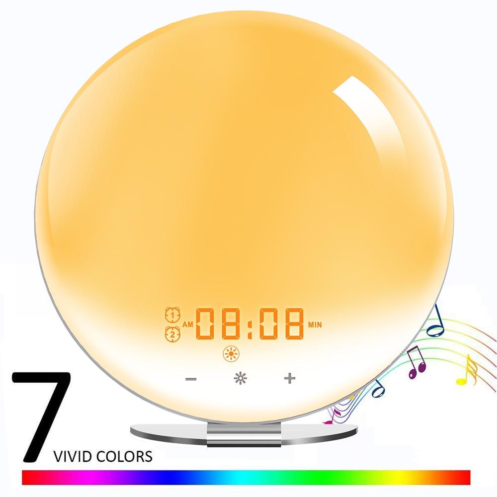Led Wake Up Light Alarm Clock Snooze Natural Bedrooms Noise Alarm Night Machine & Sounds White Clock Sleep Dual Light Up