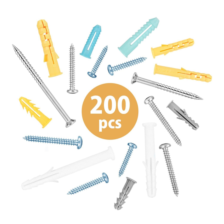 200 قطعة من البلاستيك دريوال مرساة مسامير الذاتي التنصت على المسمار مجموعة M4 M5 الفولاذ المقاوم للصدأ التوسع أنبوب الجدار التوصيل