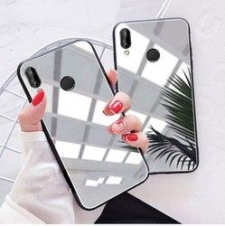 À prova de choque caso de silicone espelho para huawei p20 p30 mate10 lite 20 pro honra 10 lite nova 3 3i chapeamento macio tpu à prova gota capa