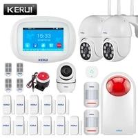 KERUI     systeme dalarme de securite domestique K52  wi-fi  GSM  ecran tactile 4 3    detecteur de mouvement  capteur de porte  camera IP