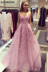 Pink Prom Dresses 2021 Women Formal Party Night Elegant V-Neck A-Line Applique Flowers Tulle Vestido De Gala Long Evening Gowns