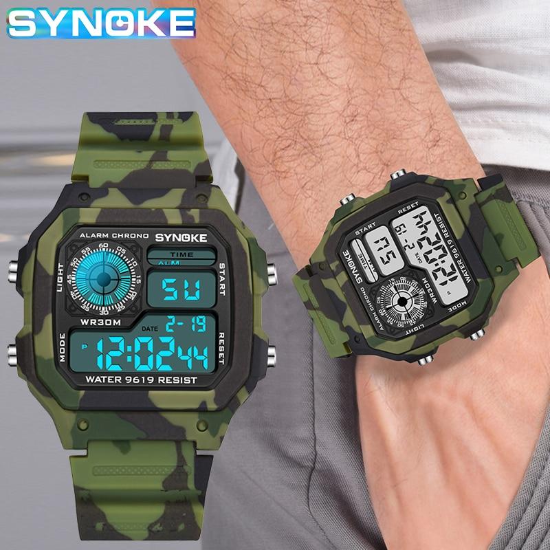 AliExpress - SYNOKE Men's Digital Watch Fashion Camouflage Military Wristwatch Waterproof Digital Watches Running Clock Relogio Masculino
