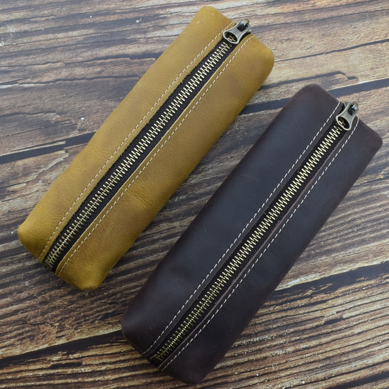 Handmade Genuine Leather Pencil Case Retro Personality Cowhide Pen Storage Bag Zipper Stationery Holder Office School Supplies