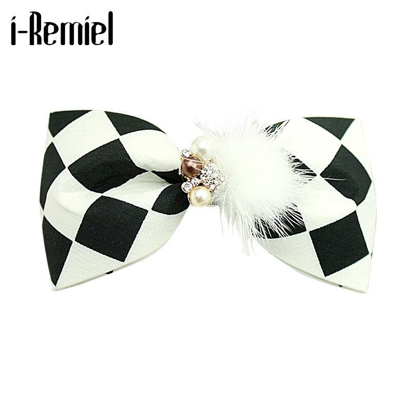 I-remiel coreano vison flor linda elegante strass treliça hairpin arco de cristal primavera clipe mulher casamento jóias acessórios