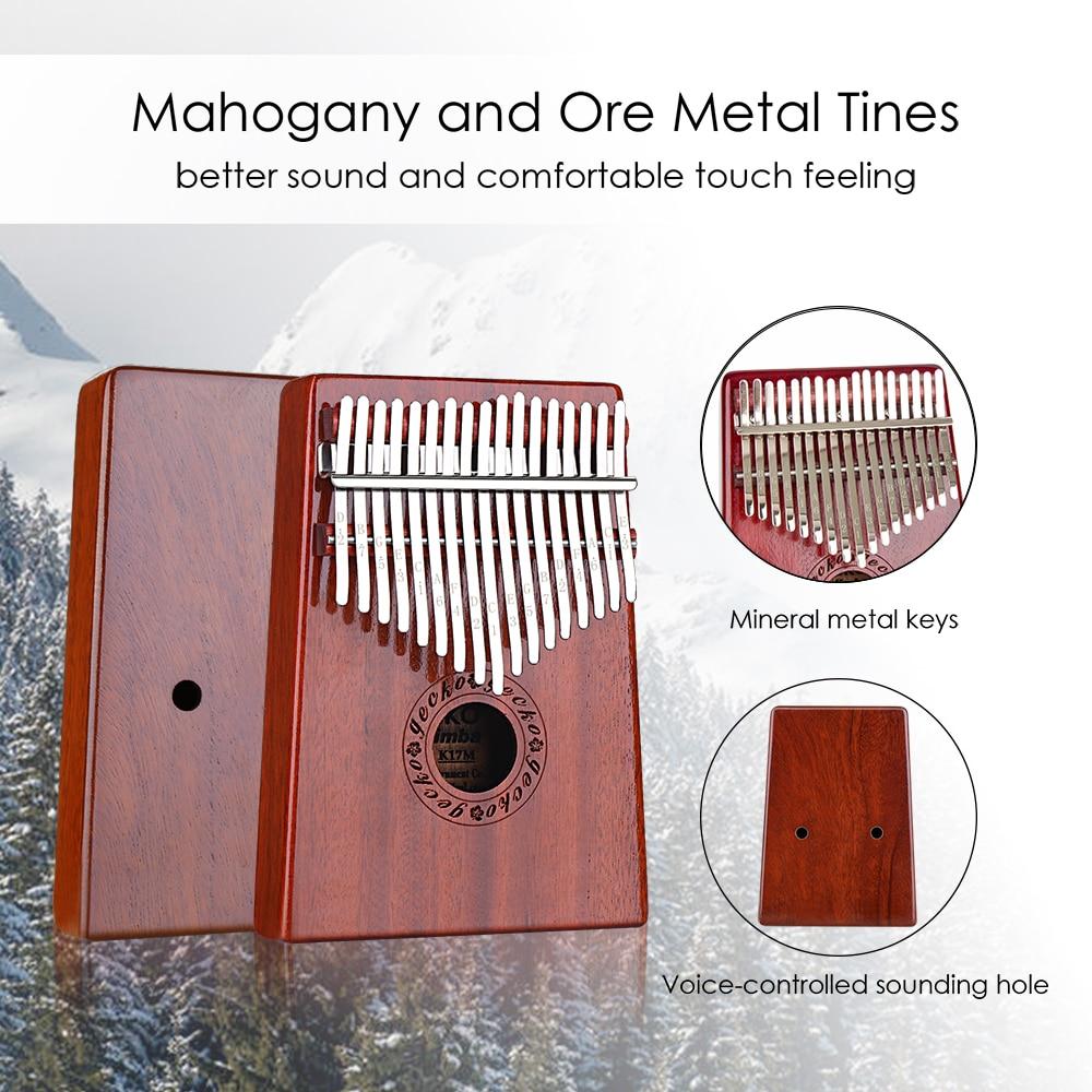 GECKO Kalimba 17-Key Thumb Piano has a built-in EVA high-performance protective box, hammer and learning instructions.  mahogany enlarge