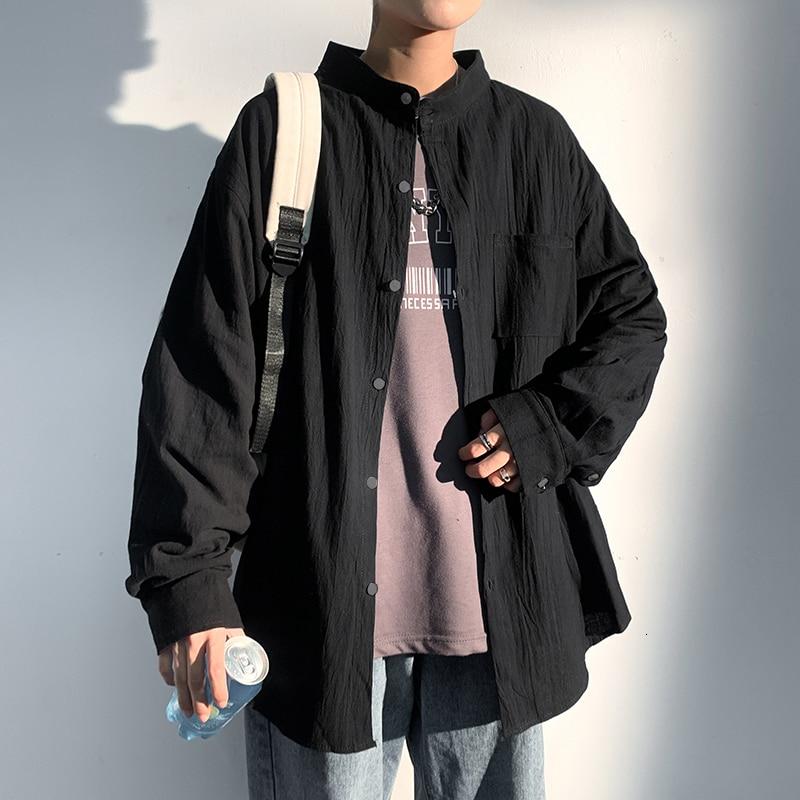 Hybskr Cotton Linen Men's Oversized Shirts Streetwear Man Stand Up Collar Shirt 2021 Male Casual Long Sleeve Blouses Tops