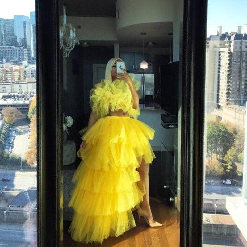 Hi Low-تنورة صفراء طويلة للنساء ، ملابس سهرة ، شريط مطاطي ، شبكة متعددة المستويات