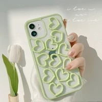 3d cute green love heart transparent phone case for iphone 12 mini 11 pro max x xs max xr 7 8 puls se 2020 cases soft tpu cover