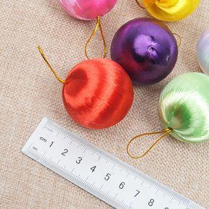 Hot! 6pcs/set Christmas Balls Ornaments Colored Silk Balls Snowball Pendant Christmas Tree Decorations Christmas Wedding