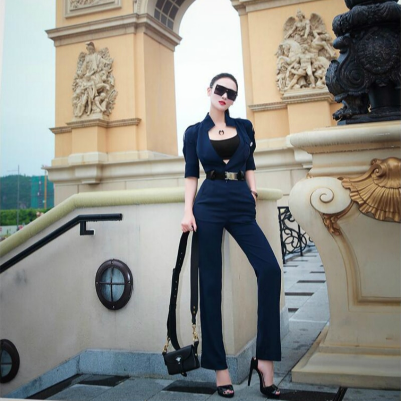 new spring and autumn Fashion sexy brand female women ladies girls short sleeve jumpsuit clothing