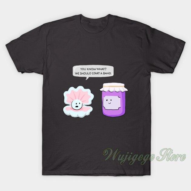 Camiseta de manga corta de algodón con estampado de perlas y mermelada de verano para hombre