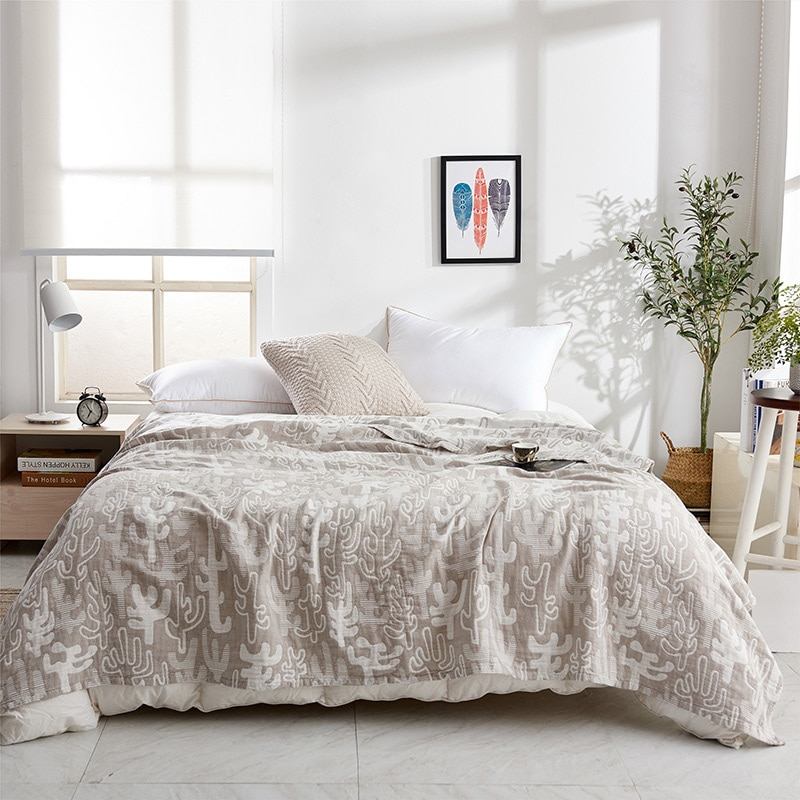 المحمولة لينة تنفس منشفة قطن بطانية 3 طبقات الشاش الصيف تكييف الهواء بطانية أريكة سرير شال المنزل بطانية