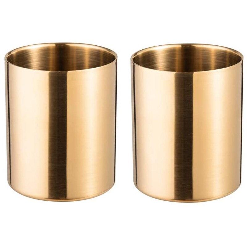 Portalápices de 2 piezas, soporte para brochas de maquillaje, escritorio, papelería, organizador de acero inoxidable (dorado)