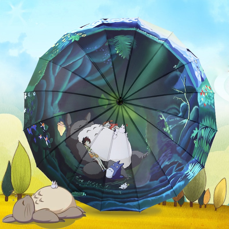 3-doble Ghibli Totoro Paraguas sombrilla Parasol mujer Plegable Sombrillas Paraguas Guarda Chuva...