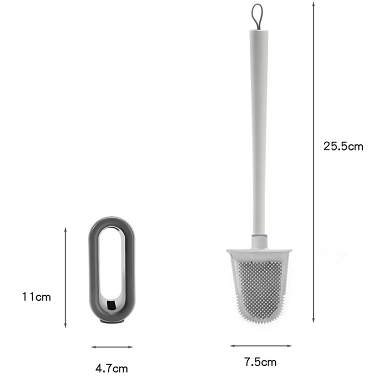 Wall-Mounted No Dead Ends Cleaning Brush Drainable Silicone Toilet Brush Ventilation Base Toilet Brush Bathroom Accessories Set enlarge