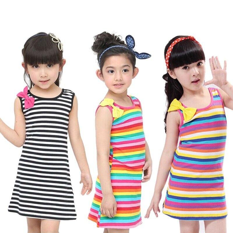 Детские платья для маленьких девочек, комплект одежды, хлопковые полосатые платья без рукавов с бантом, детская одежда, летнее платье