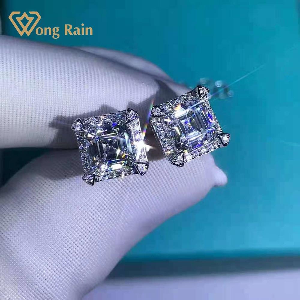 Review Wong Rain 925 Sterling Silver Asscher Cut 2 CT D Created Moissanite Gemstone Ear Studs Earrings Customized Studs Fine Jewelry