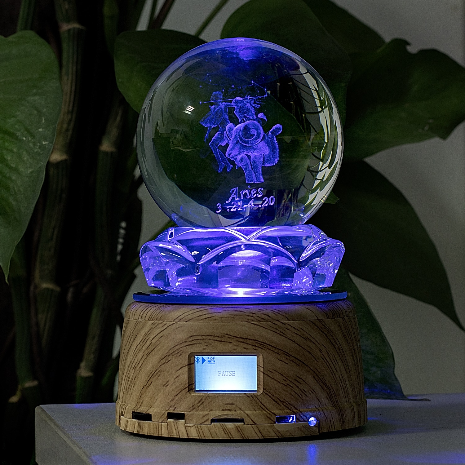 LED Night Light 12 Horoscope Sign Aries Crystal Photo MP3 Music Swivel Display Bluetooth Lamp RGB Remote Control For Gift enlarge
