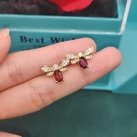 minimalist cute style gold stud earings for women natural garnet bee earring fashion jewelry accessories birthday gift for girls