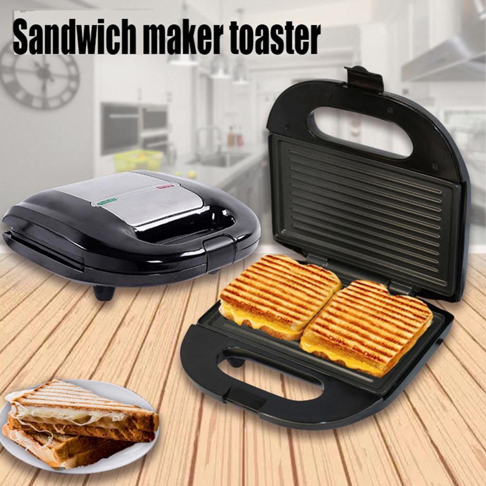 2-servindo panini imprensa de aço inoxidável placa antiaderente grill sanduíche fabricante café da manhã sanduíche imprensa