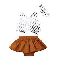 0-24M الوليد الرضع طفل الفتيات البولكا نقطة قمم عقال القوس عقدة تنورة 3 قطعة الملابس oddler الاطفال طفلة أنبوب قمم