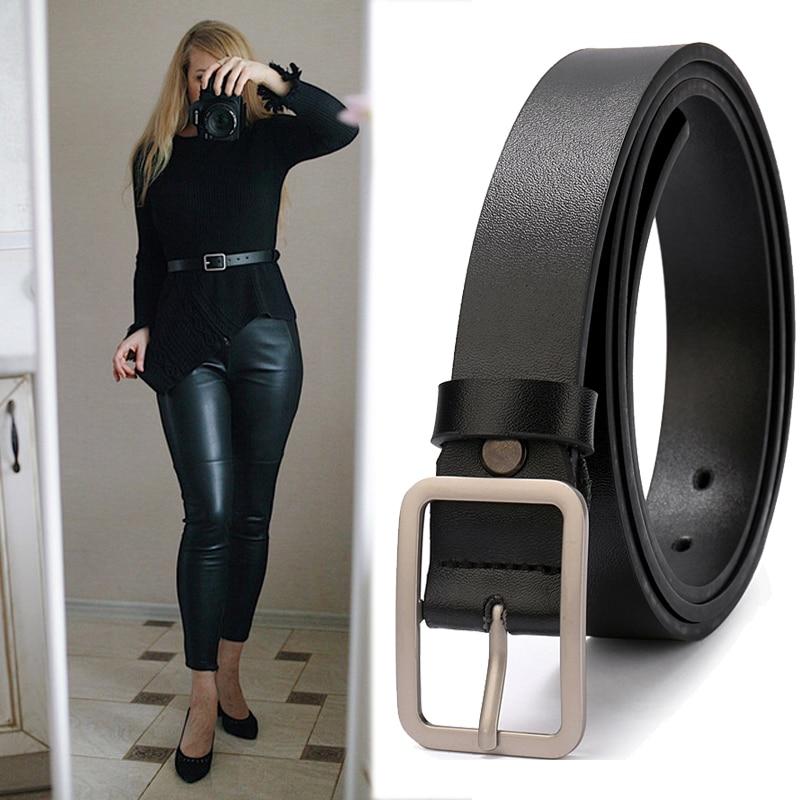 Women Leather Belts Ladies Simple Western Design Black Waist Belt for Pants Jeans Dresses Femme belt