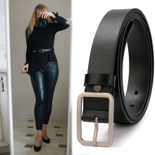 Women Leather Belts Ladies Simple Western Design Black Waist Belt for Pants Jeans Dresses Femme belt