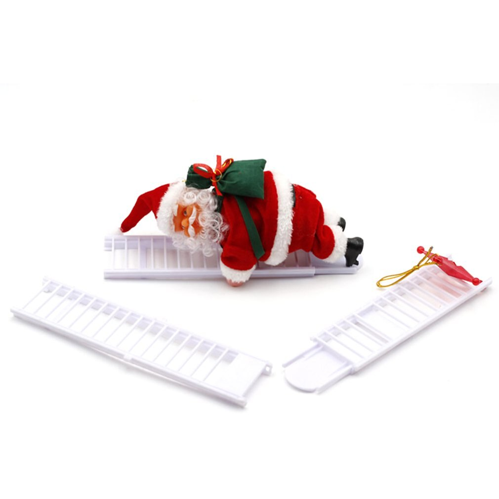 Lovely Christmas Santa Electric Climbing Ladder Santa Claus Christmas Figurine Ornament Decoration Gifts Christmas Tree Decor недорого