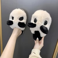 creative panda cartoon shoes plus size 35 41 women white anime home slippers soft fluffy panda slides indoor woman slippers