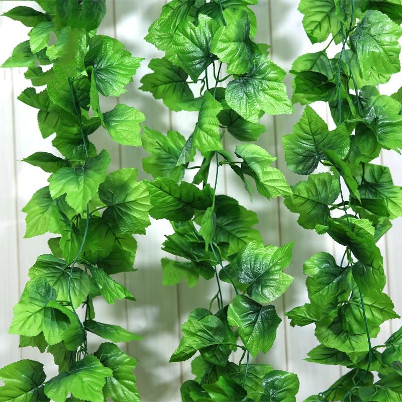 12pçs 2.4m plantas de videira artificiais, asas de rattan artificiais de videira, plantas de folhas verdes de grama, decoração de casa, decoração de seda, artificial flor flor