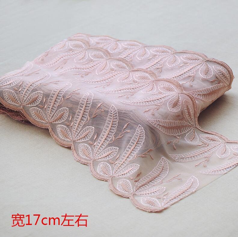 2 metros de tela Bilateral DIY de encaje de color caqui Rosa dulce encaje de encaje embellecedor materiales artesanales para bricolaje accesorios de ropa bordado de encaje