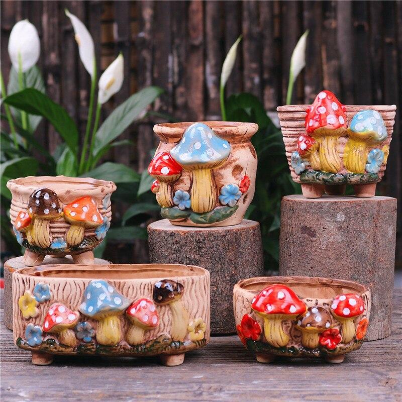 New Mushroom Stoneware Succulent Flower Pot Home Decoration Decoration Creative Handmade Hole Craft Succulent Flower Pot
