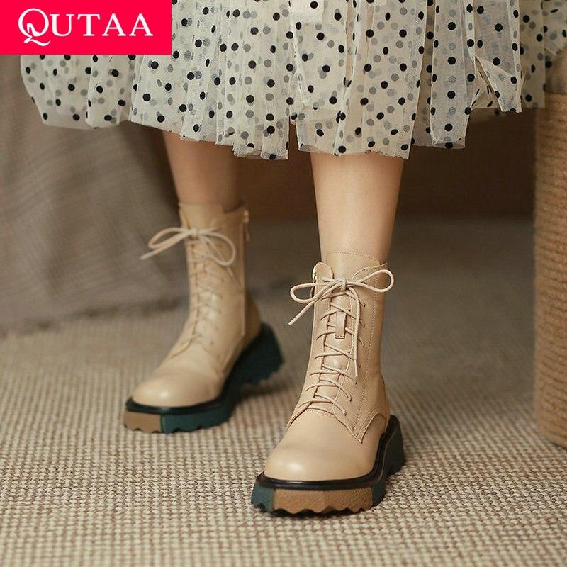 QUTAA 2022 النساء الكاحل تشيلسي الأحذية مختلط اللون النساء الأحذية منصة مربع ميد كعب الشتاء أحذية النساء أحذية كبيرة الحجم 34-39