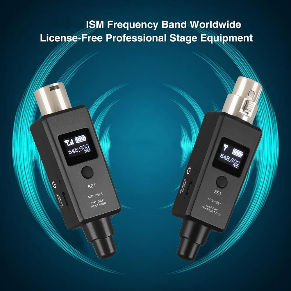 USB ميكروفون لاسلكي جهاز ريسيفر استقبال وإرسال نظام XLR اتصال المدمج في بطارية قابلة للشحن للميكروفون الديناميكي