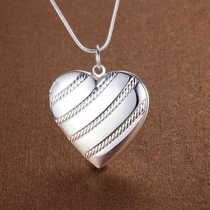 Новое-поступление-925-серебряное-ожерелье-18-дюймов-сердце-кулон-фоторамка-для-женщин-модный-тренд-ювелирное-изделие-рождественские-подарк