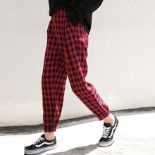 Zisuo 2020 Autumn New Harajuku BF Style Red Plaid Female Students Loose Casual Tappered Harem Pants