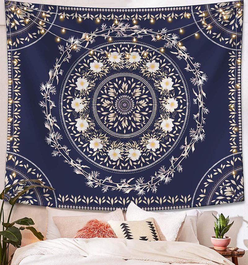 Tapiz azul bohemio para colgar en la pared Mandala Floral tapiz de medallón azul marino decoración de pared manta para dormitorio Hogar, dormitorio