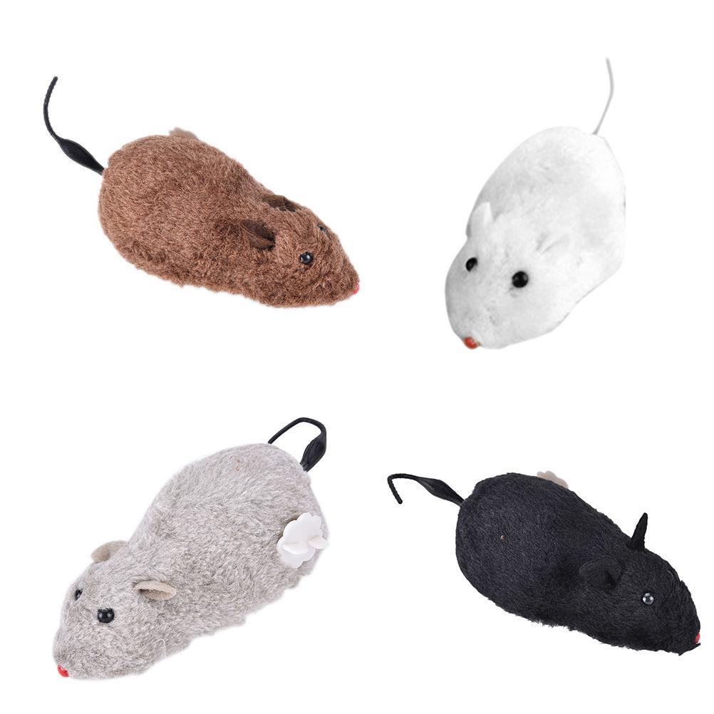 1pc divertido lindo viento Up rata movimiento juguete correr ratón rata cola gato gatito broma Juguetes regalo de broma para gato 4 colores