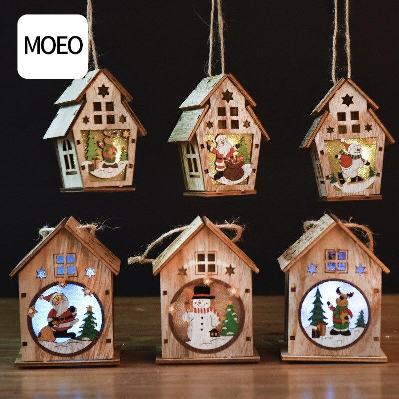1pc led árvore de natal decoração luz papai noel boneco de neve elk casa de madeira luz diy natal ano novo férias pendurado decoração