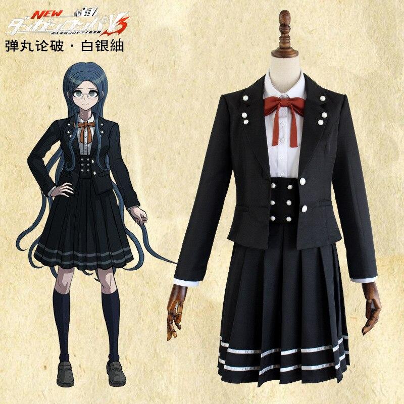 Danganronpa V3 Dangan Ronpa Shirogane Tsumugi uniforme JK abrigo de la escuela + camisa + falda de tirantes + corbata + calcetines Peluca de disfraz Cosplay